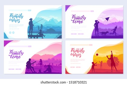 Family vacation with children in nature brochure cards set. Friendly resorts  template of flyer, web banner, ui header, enter site. Invitation concept background. Layout modern slider