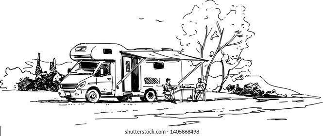 Family vacation. RV. Black and White Illustration. Side view