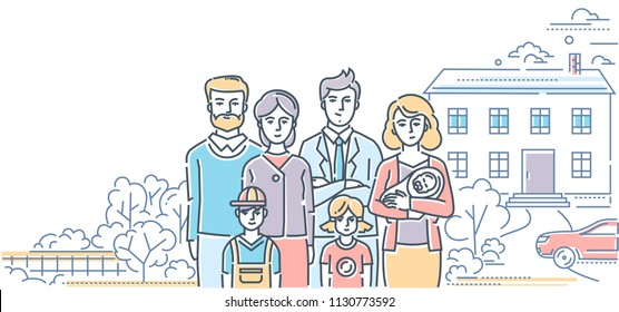 Family values - colorful line design style illustration on white background. High quality composition with a young couple standing with three small children and parents, nice house, car, trees