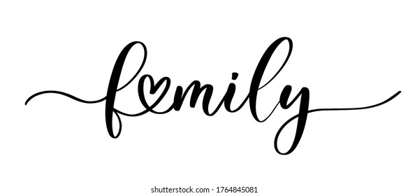 Family vector calligraphic inscription with smooth lines. Minimalistic hand lettering illustration.