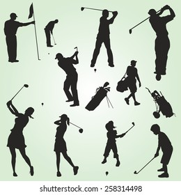 Family vector golf silhouettes figures
