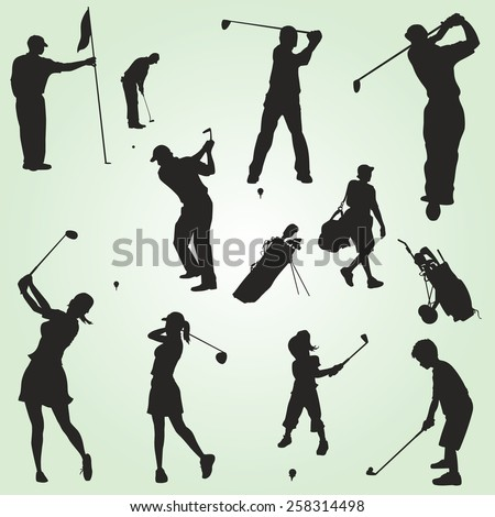 Family Vector Golf Silhouettes Figures Stock Vector Royalty Free