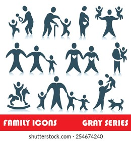 Family vector icons, gray series