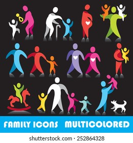 Family vector icons, multicolored series