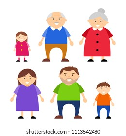 Family vector illustration isolated on a white background, characters.