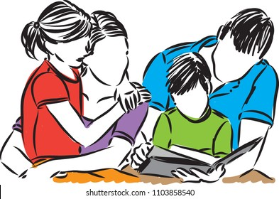 family vector illustration with kids vector