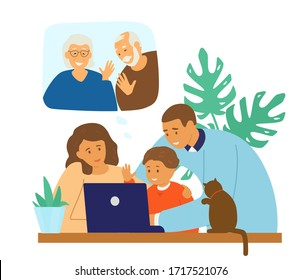 Family videoconference. Online communication. Parents with child chatting with granparents by video call. Flat vector illustration.