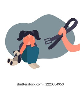Family violence and aggression concept. Aggressive woman swings a belt at a scared child. Little girl crying covering her face.