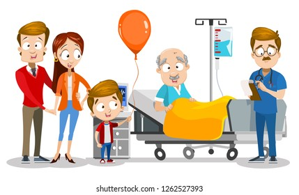 Family visiting granddad at hospital room vector illustration. Cartoon wife and husband with son at clinic. Little boy presenting orange balloon to grandfather. Doctor near patient bed writing recipe