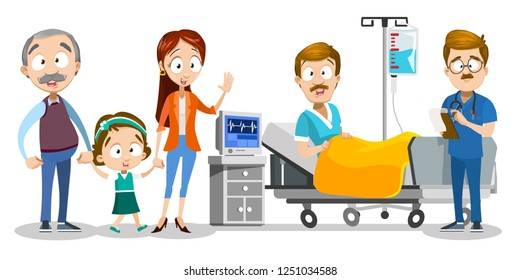 Family visiting ill father at hospital vector illustration. Man lying at bed with drip IV at clinic ward. Cartoon wife granddad and little daughter standing near bed. Doctor writing recipe
