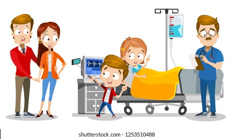 Family visiting little child at clinic vector illustration. Cartoon mother father son and daughter at hospital room. Brother taking selfie with sister and doctor. Girl lying in bed with IV drip