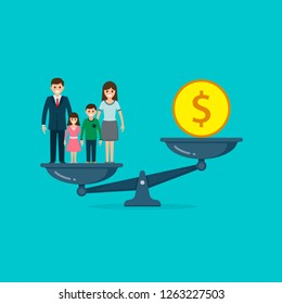 Family vs business on scales concept. Solution between work, money and family. Lifestyle business concept. Man balances Family or money. Vector.