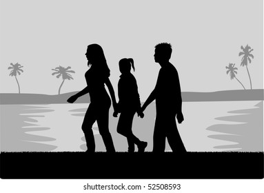 Family walk in the beach - black and white illustration