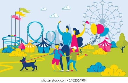 Family Walking by Amusement Park. Roller Coaster, Tents and Ferris Wheel. Summer Urban Landscape. Kid Holds Balloons. Father Takes Photo. Mother and Children Hold Dog. Summer Vacation. Vector