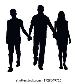 family walking hand in hand silhouette on a white background
