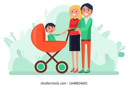 Family walking in park with child vector, man and woman with kid sitting in perambulator. Buggy for boy mom and dad caring for offspring baby flat style