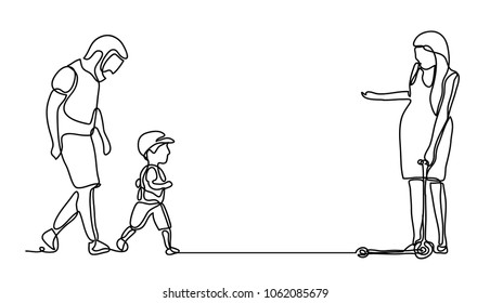 Family Walking in the park. Continuous line drawing. Vector monochrome, drawing by lines. People in the Park. Family concept. Happiness in the Everyday