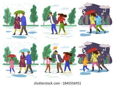 Family walking in the rain with umbrella autumn season and in windy weather in the city park. Parents and daughter spend time together outdoor. Couple and family in various weather conditions