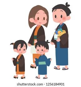 family walking yukata style