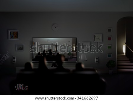 family watch themselves tv creating endless stock vector royalty
