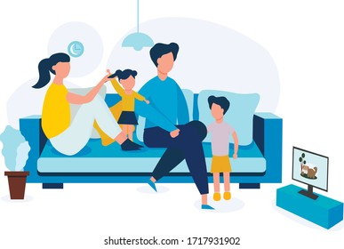 The family watch TV together at home. Family day. Parents spend time with their children watching cartoons. Dad, mom, Daughter and son are sitting on the couch. Vector illustration in flat style.