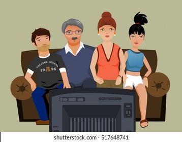 Family Watching a TV