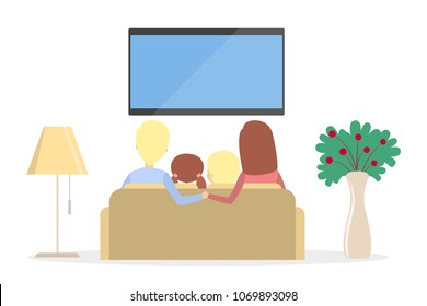 Family watching TV at home together on white.