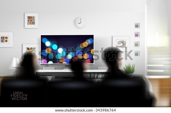 Family watching TV. Rich vector graphic template.