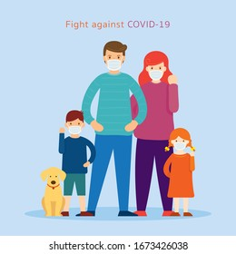 Familien mit Gesichtsmaske-Kampf gegen Covid-19, Coronavirus-Krankheit, Gesundheitsversorgung und Sicherheit