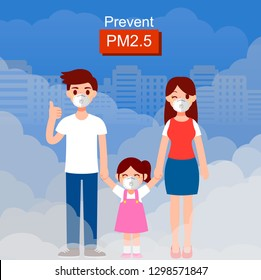 family wearing protective mask before go outdoor .Dust mask N95 prevent PM2.5 , Air pollution concepts vector illustration.