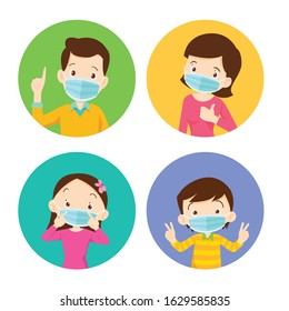 family wearing protective Medical mask for prevent virus Wuhan Covid-19.Dad Mom Daughter Son wearing a surgical mask.