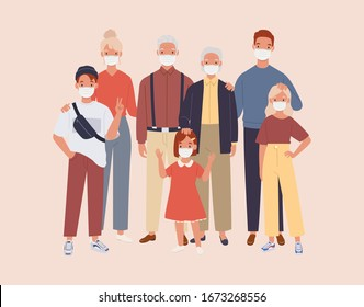 family wearing protective Medical mask for prevent virus and Air Pollution. Vector illustration in a flat style