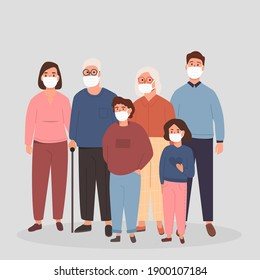 Family wearing Protective Medical Mask to prevent Covid 19 Virus or Air Pollution. Elderly people together with children, mother and father with kids. Vector flat illustration isolated on white.