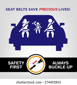 Family Wearing Seat Belts on a Car. Buckle Up Awareness Campaign  Poster template editable vector