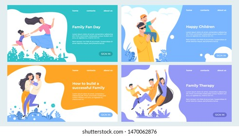 Family website. Flat insurance planning web page template, happy cartoon characters with children on landing page. Vector illustrations banner healthy parents and kids set