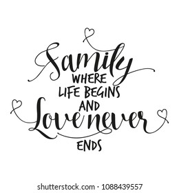 Family where life begins and love never ends. - Hand letter script family sign catch word art design.  Good for scrap booking, posters, textiles, gifts, wedding sets.