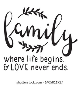 Family where life begins and love never ends decoration for T-shirt
