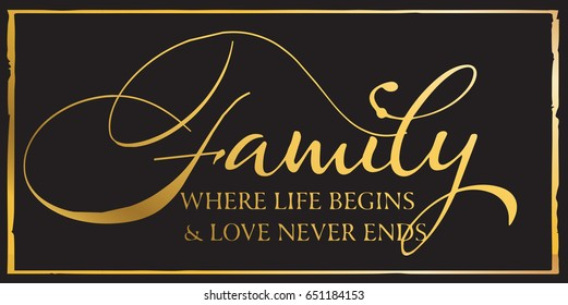 Family where life begins and love never ends/ Inspirational Quote