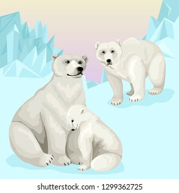 Family of white polar bears in natural habitat. Arctic landscape with wild animals. Vector illustration with characters
