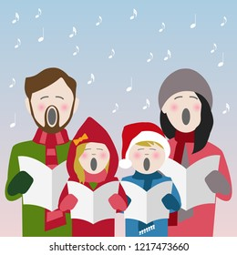 family in winter clothes singing Christmas carols from a song sheet