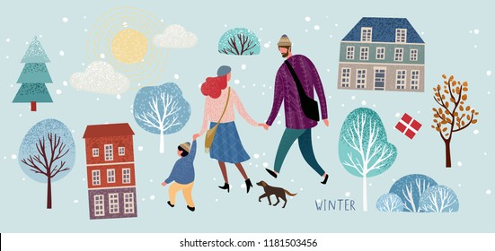 Family in winter, vector illustration of a happy family in christmas and new year on a walk around the city, mom, dad, baby and dog stroll through the park