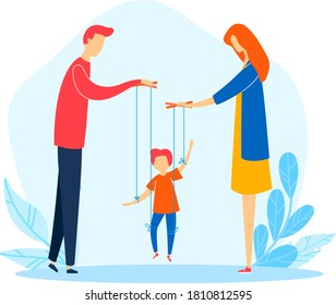 Family woman man child problem, mother father manipulate cartoon son, vector illustration. Flat relations cruelty, despotic parent conflict. Domination at little boy puppet children character.