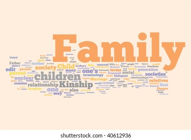 Family word cloud illustration. Graphic tag collection.
