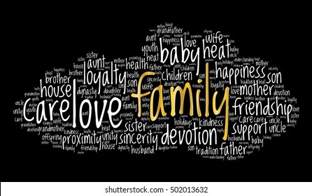 Family word cloud on black background, social concept.