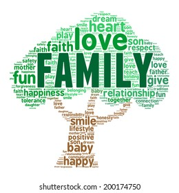 Family Word Cloud in shape of the tree in vector on white background