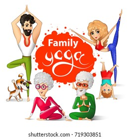 Family yoga vector illustration. Senior couple and young man, woman, child, dog doing yoga.