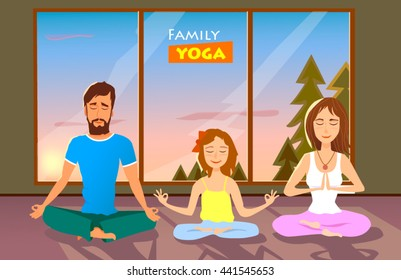 Family Yoga vector illustration.Young man, woman and their daughter doing yoga in the Lotus position in room against the sunset sky