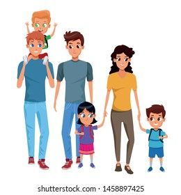 Family young fathers and mothers parents with childrens holding school backpacks cartoon isolated vector illustration graphic design