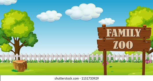 A family zoo landscape illustration