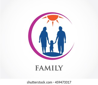 Family,logo illustration with people silhouette
